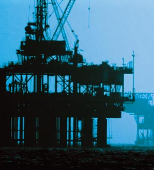 Image of Oil Rig on blue background